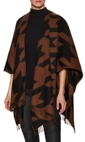 Amicale Jumbo Hounds Tooth Jacquard Poncho
