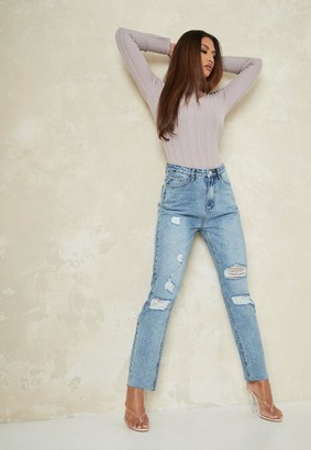 Missguided Light Blue Straight Leg Distressed Jeans