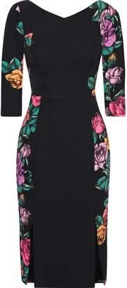 Black Halo Prism Paneled Floral-print Cady Dress