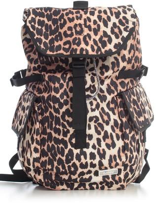 Ganni Tech Fabric Backpack Leopard Printing