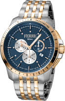 Ferré Milano Men's 45mm Stainless Steel Tachymeter Diver Watch with Bracelet, Steel/Gold/Navy