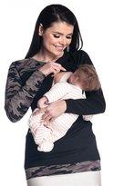 Zeta Ville Fashion Zeta Ville - Womens Maternity Nursing Layered Top - Contrast Hem Sleeve - 588c (