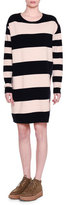 Stella McCartney Long-Sleeve Wide-Striped Combo Shift Dress, Ink/Powder
