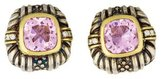 Judith Ripka Diamond & Pink Crystal Clip-On Earrings