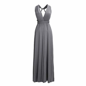 kiss me Cocktail Women Vintage Elegant Long Maxi Wedding Bridesmaid Dresses Evening Dress Prom Ball Gown (Apricot S)