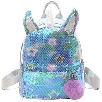 Ella & Elly Women's Backpacks Blue - Blue Sequin Stars Unicorn Backpack