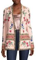 Alice + Olivia Jerri Embroidered Open Front Blazer