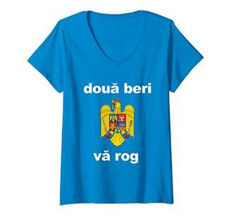 Womens Two Beers Please Romanian Shirt Funny Romania Vacation Gift V-Neck T-Shirt