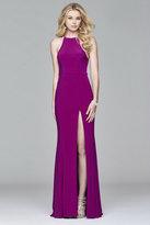 Faviana Halter Neck Jersey Trumpet Dress in Wild Orchid 7976
