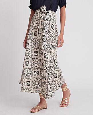 Ann Taylor Tiled Tie Waist Maxi Skirt