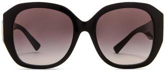 Valentino Acetate Oversized Sunglasses in Black | FWRD