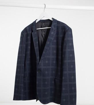 ASOS DESIGN Plus super skinny jersey blazer in navy plaid