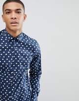 Moss Bros Extra Slim Smart Shirt With Navy Polka Dot Print