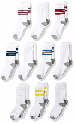 Amazon Essentials Boys' 10-Pack Cotton Varsity Crew Sock Color Stripe/White with Grey Heather Heel Toe 3