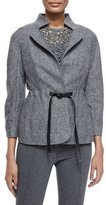 Escada Three-Quarter Sleeve Birdseye Jacket, Black