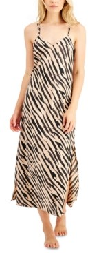 INC International Concepts Inc Satin Zebra-Print Long Chemise Nightgown, Created for Macy's