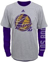 adidas Boys 8-20 Los Angeles Lakers Cage Option Combo Tee Set