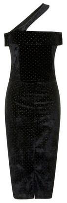 Dorothy Perkins Womens Girls On Film Black Velvet Asymmetric Pencil Dress, Black