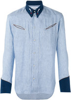 Umit Benan striped panel shirt - men - Linen/Flax/Modal - 46