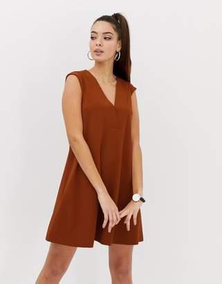 Asos Design DESIGN mini deep v shift dress-Orange