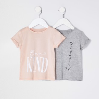 River Island Mini girls Grey 'Lamour' 2 pack t-shirts