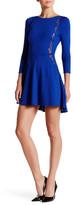 David Lerner Fit & Flare Lace Trim Dress