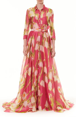 Carolina Herrera Floral Long Sleeve Silk Shirt Gown