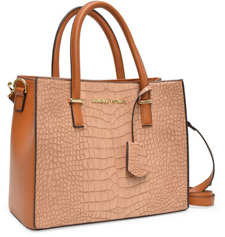 Adrienne Vittadini Women's Satchels natural - Natural Croc-Embossed Marina Collection Top-Zip Tote
