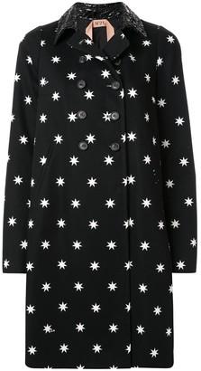 No.21 Star-Print Mid-Length Coat