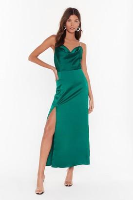 Nasty Gal Womens Cowl You Mine Diamante Maxi Dress - Emerald