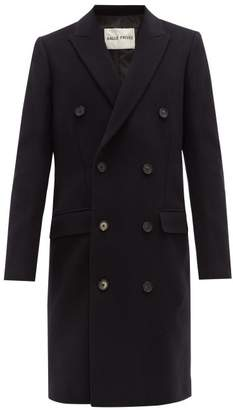 Privee Salle Salle Ives Double Breasted Wool Blend Overcoat - Mens - Navy