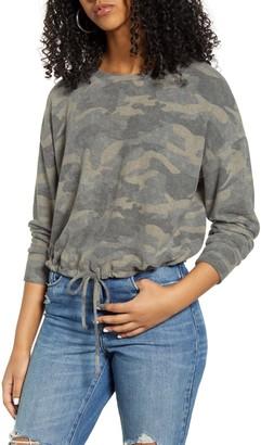 Socialite Cinch Hem Leopard Print Sweatshirt
