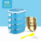 Lunch Box Luckyfree Luckyfree Lunch Box 304 Stainless Steel Bento boxes For Students Adult Children Picnic Food Containers,four-storey party blue+Soup ladle