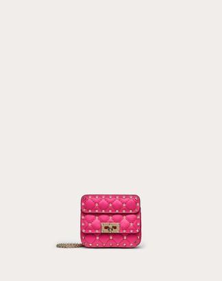Valentino Micro Rockstud Spike Fluo Calfskin Leather Bag Women Azalea Calfskin 100% OneSize