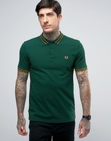 Fred Perry Slim Pique Polo Tramline Tipped in Green