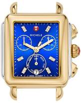 Michele Deco Two-Tone Chronograph Watch Head with Diamonds, Blue