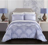 Carmina Stitched Fish Scale Pattern With Ruching Ruffled Details Twin Quilt - Lavender