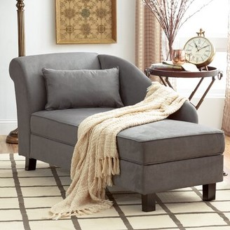 Three Posts Verona One Left-Arm Chaise Recessed Arms Chaise Lounge with Storage Fabric: Gray Microfiber/Microsuede