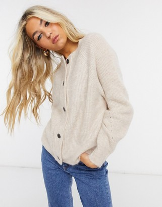 Selected cardigan in brushed knit in cream