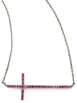 Tai Gunmetal Pave Cross Necklace, Pink