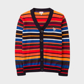 Paul Smith Boys' 7+ Years Multi-Colour Stripe Cotton-Cashmere Zebra Logo Cardigan
