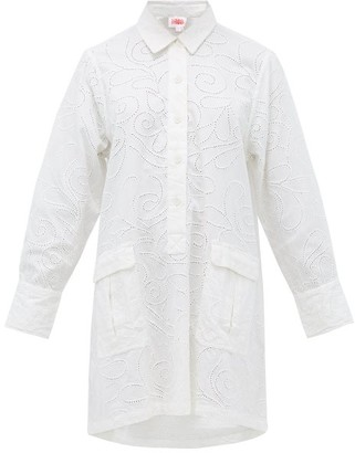 Solid & Striped Eyelet-embroidered Cotton Shirt Dress - White
