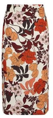 Dorothy Perkins Womens Multi Colour Floral Print Midi Pencil Skirt, Multi