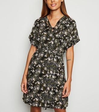 New Look Bird Print Tie Neck Tunic Dress