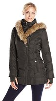 Betsey Johnson Women's Mid-Length Puffer Coat with Faux-Fur Hood