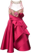 Marchesa embroidered halterneck ruffled dress