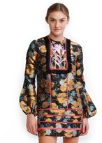 Cynthia Rowley Golden Floral Jacquard Bell Sleeve Dress