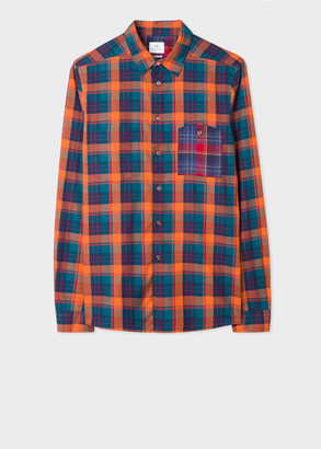 Paul Smith Men's Tailored-Fit Orange And Blue Cotton Check Shirt