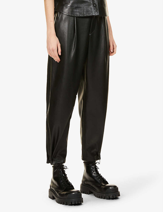 Alice + Olivia Paris slim-leg mid-rise faux-leather trousers