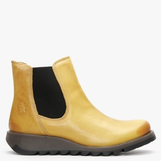 Fly London Salv Mustard Leather Wedge Chelsea Boots